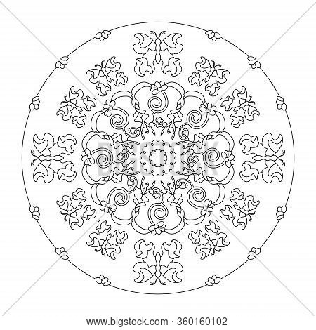 Pretty Butterflies And Little Flowers. Mandala Coloring Page, Illustration Vector. Art Therapy. Anti