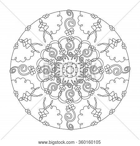 Pretty And Little Flowers. Mandala Coloring Page, Illustration Vector. Art Therapy. Anti-stress Colo