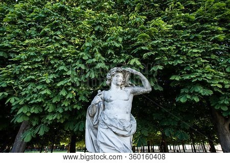 Paris. France - May 15, 2019: Marble Sculpture in the Tuileries Park, Paris, France.