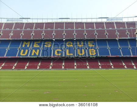 Nou camp is a football stadium in Barcelona poster