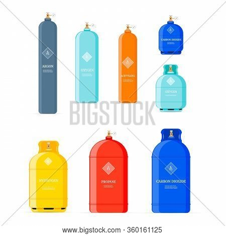 Gas Tank. Gaz Cylinders With Acetylene, Propane Or Butane. Petroleum Fuel In Safety Cylinder.  Equip
