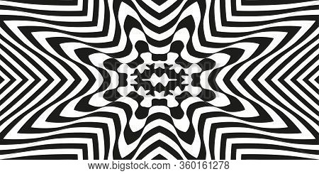 Abstract Black And White Striped Background. Geometric Pattern With Visual Distortion Effect. Optica