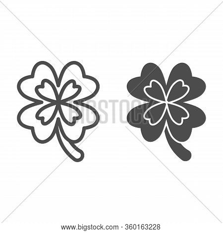 Lucky Four Leaf Clover Line And Solid Icon. Irish Shamrock For Fortune Outline Style Pictogram On Wh