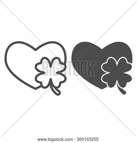Heart With Clover Leaf Line And Solid Icon. Love Symbol And Patrick Day Shamrock Outline Style Picto