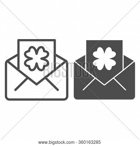 Envelope With Clover Postcard Line And Solid Icon. Letter With Shamrock Outline Style Pictogram On W