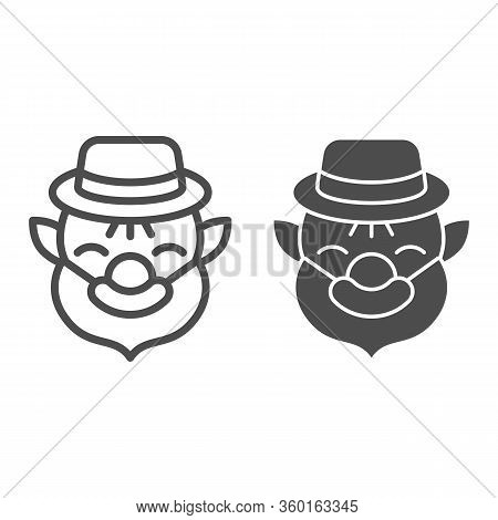Patrick With Beard Line And Solid Icon. Leprechaun Avatar Outline Style Pictogram On White Backgroun