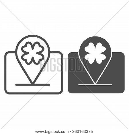 Party Four Leaf Location Line And Solid Icon. Map Pin Clover Of The Holiday Outline Style Pictogram