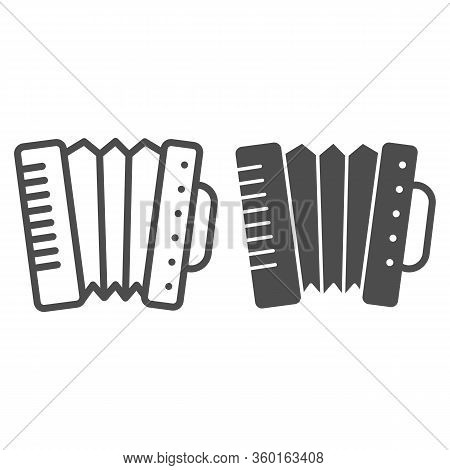 Accordion Line And Solid Icon. Folkloric Accordion Instrument Outline Style Pictogram On White Backg