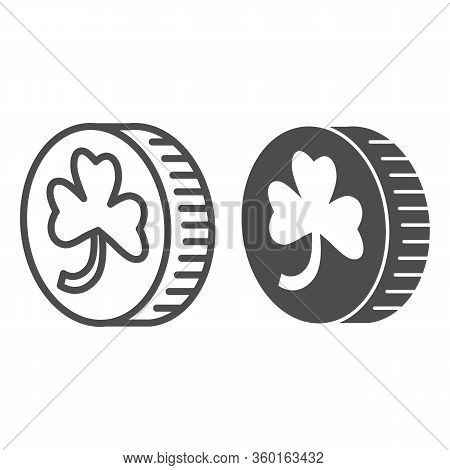 Coin With Clover Line And Solid Icon. Leprechauns Gold Lucky Coin With Four Leaf Outline Style Picto