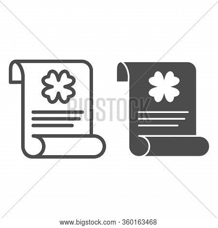 Patrick Holiday Announcement Line And Solid Icon. Paper Sheet With Clover Outline Style Pictogram On