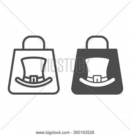Shopping Bag With Leprechaun Hat Symbol Line And Solid Icon. Top Hat On Package Outline Style Pictog