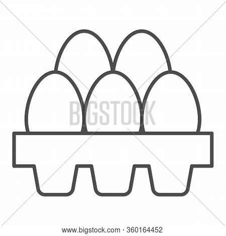Packaging Of Fresh Eggs Thin Line Icon. Five Egg In Carton Package Outline Style Pictogram On White
