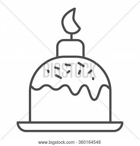 Easter Cake On Plate With Candle Thin Line Icon. Traditional Paschal Dessert Outline Style Pictogram