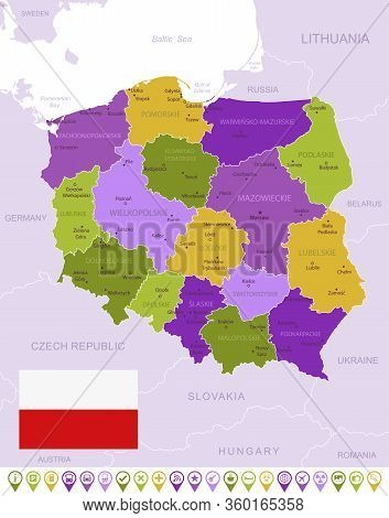 Detailed Map Of Poland With Flag, Border Of Regions And Country. Purple, Yellow, Green.