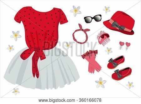Fashionable Modern Look. Scarf, Scarf, Dress, Gloves. Clothes For Girls And Dolls. Vector Illustrati