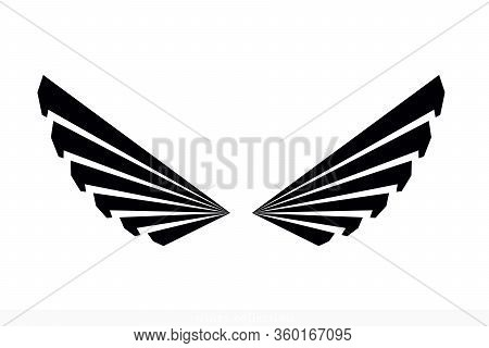 Wings Vector Collection. Simple Wing Silhouette For Heraldry, Tattoo, Logo