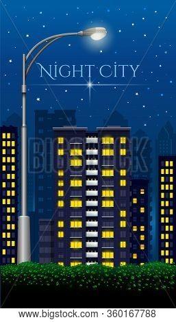 Street Lamp In The Night City. Night City. Megapolis At Night. Urban Landscape. Vector Illustration