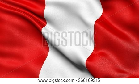 3D illustration of the flag of Peru waving in the wind.