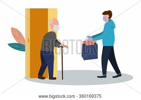 Fresh Food And Food Delivery For The Elderly. An Elderly Man Receives A Parcel. Social Assistance An