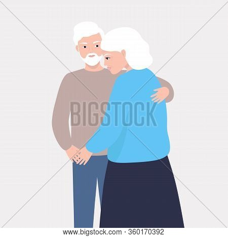 An Elderly Man And An Aged Woman Love Each Other. The Elderly Care About Each Other. The Husband Hug