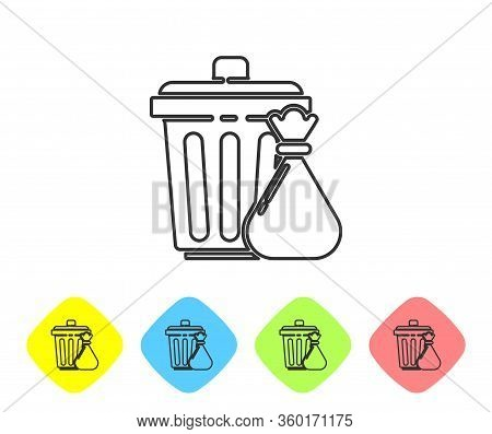 Grey Line Trash Can And Garbage Bag Icon Isolated On White Background. Garbage Bin Sign. Recycle Bas