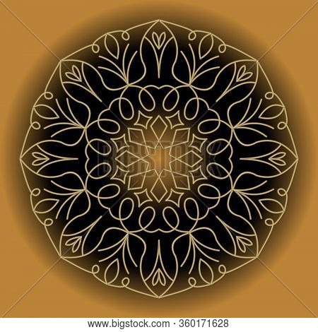 Circle Gold Lace Vintage Ornament On Gradient Background, 3d Illusion, Filigree Wire Patterns In Ant