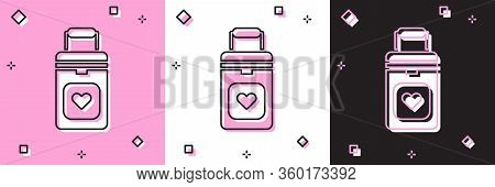 Set Cooler Box For Human Organs Transportation Icon Isolated On Pink And White, Black Background. Or