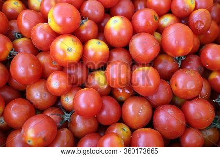 A Lot Of Grape Tomatoes  For Sale At Farmer Market