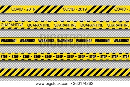 Set Of Yellow Lines With Different Inscriptions About The Danger Of The Coronovirus. Ers-cov Middle