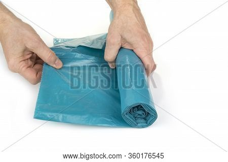 Big Unused Garbage Plastic Bags On A White Background