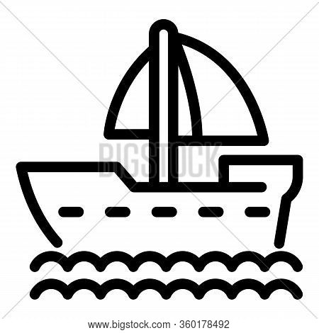 Sailboat Icon. Outline Sailboat Vector Icon For Web Design Isolated On White Background