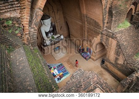 Buddha Statue In The Temple At Bagan, Bagan Is Over 10,000 Buddhist Temples, Pagodas And Monasteries