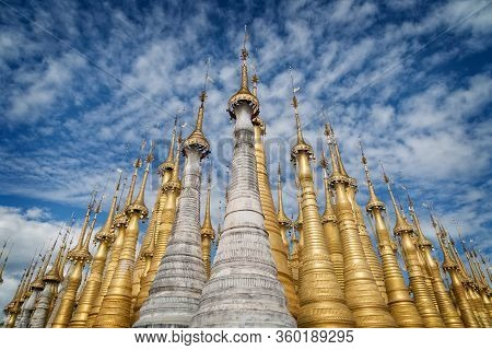 Shwe Indein Pagoda And Golden Stupas With Bells, Inle Lake, Shan State, Myanmar Burma.