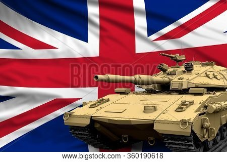 United Kingdom (uk) Modern Tank With Not Real Design On The Flag Background - Tank Army Forces Conce