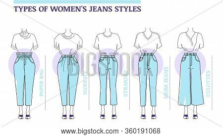 Types Of Women's Blue Jeans Styles:  Straight, Mom, Slouchy, Paper Bag, Culottes. Vector Illustratio