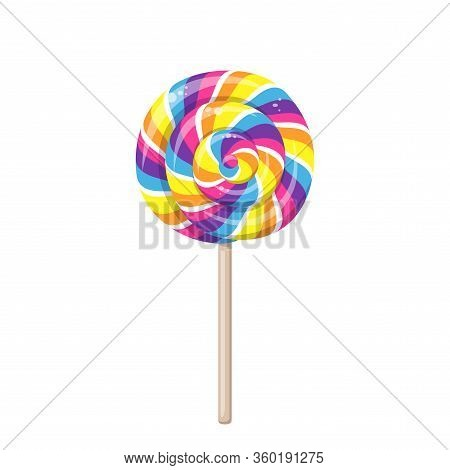 Lollipop With Spiral Rainbow Colors, Twisted Sucker Candy On Stick. Vector Cartoon Illustration Of R