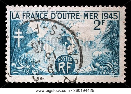 ZAGREB, CROATIA - JUNE 27, 2014: A stamp printed in France shows Overseas France Map, circa 1945.