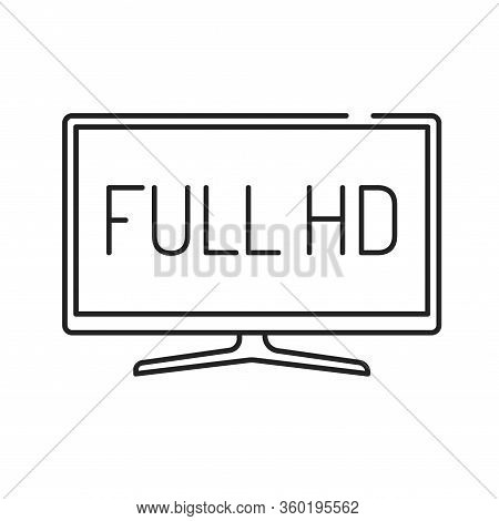 Full Hd Black Line Icon. Full High Definition. Resolution 1920 1080 Pixels And A Frame Rate Of At Le