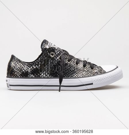 Vienna, Austria - August 14, 2017: Converse Chuck Taylor All Star Ox Black And White Sneaker On Whit