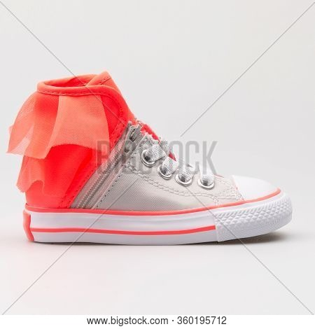 Vienna, Austria - August 14, 2017: Converse Chuck Taylor All Star Block Party High Grey And Red Snea