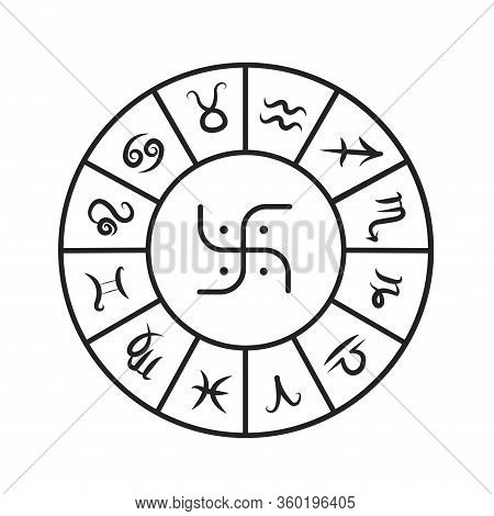 Astrology Wheel Black Line Icon. Wheel Of All Zodiac Signs. Astrology And Horoscope. Predictions And