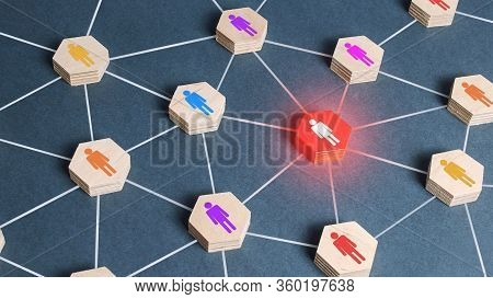 Red Human Figure In A Network. Cooperation, Collaboration. Spy. Employee Replacement. Weak Link, Tox
