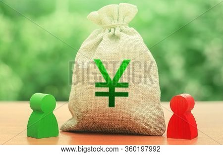 Yen Yuan Money Bag And A Deal Between Two Persons. Business Lending, Leasing. Tender Competitiona Co