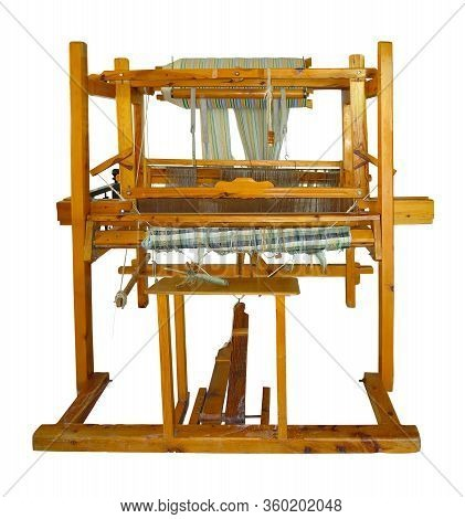 Old Vintage Wooden Loom Isolated Over White Background