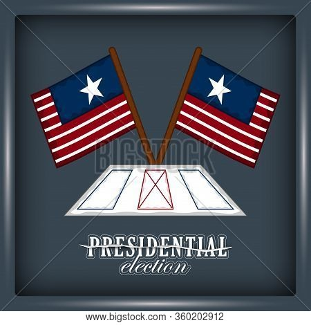 Electoral Card With Flags Of United States. Presidential Election Poster - Vector Illustration