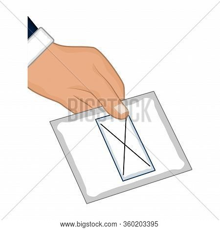 Isolated Hand With An Electoral Card. Democracy Concept - Vector Illustration