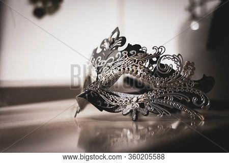 A Scenic Portrait Of A Mysterious Venetian Mask Lit By A Window. A Great Way To Hide Your Identity O