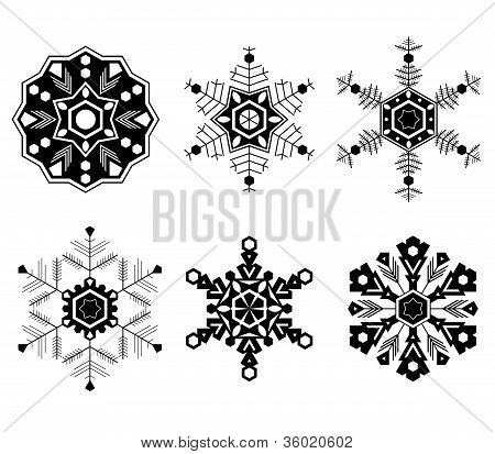 Stet Of Six Different Types Of Snow Flakes