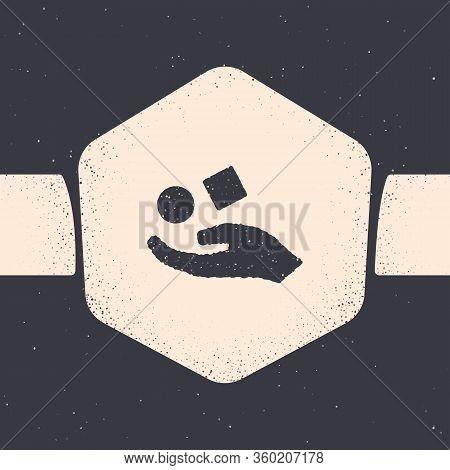 Grunge Cube Levitating Above Hand Icon Isolated On Grey Background. Levitation Symbol. Monochrome Vi