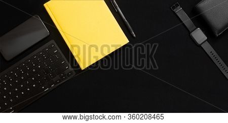 Flat Lay Composition With Black Pen, Computer Keyboard, Smartphone, Smart Watch, Leather Wallet And